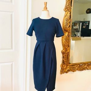 ASOS NAVY DOUBLE TOP LAYERED DRESS